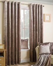 Crushed Faux Velvet Eyelet Curtains Pair of Fully Lined Heavy Curtains Mocha