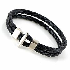 10mm Mens Leather Double Braided Cuff Wristband Bracelet