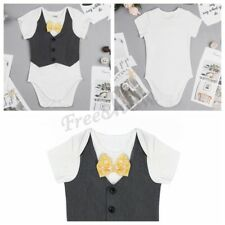 Baby Boys Infant Bowtie Gentleman Romper+ Vest Bodysuit Jumpsuit Clothes 3-24M