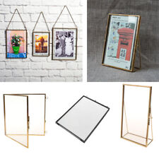 Antique Style Glass Hanging/Free Stand Picture Photo Frame Portrait Brass Black