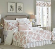 NEW Croscill Fiona 4 pc Queen or King Comforter Set; Blush Pink on Subtle White