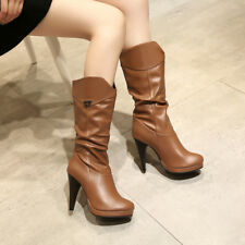 Womens High Heel Platform Synthetic Leather Mid Calf Boots Shoes AU Size 2-11