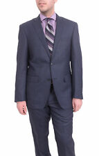 Mens Slim Fit Blue With Purple Windowpane Two Button Wool Suit