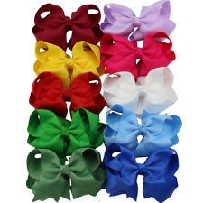 """10x 4"""" Solid Grosgrain Layered Boutique Chunky Baby Girl Hair Bows Mix 10 Colors"""