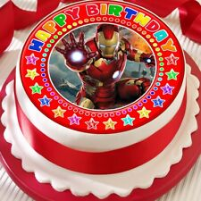 IRONMAN CAKE TOPPER PRECUT DECORATION EDIBLE RED HAPPY BIRTHDAY