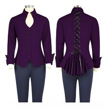Purple Gothic Steampunk Corset Detailed Long Sleeved Top Sizes 6 to 28 Plus Size