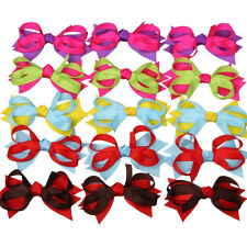 """15pcs 3.5"""" Boutique Girl Baby Spike Chunky Hair Bow Alligator Clip Mixed 5 Color"""