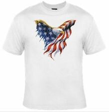 American Eagle Flag Independence Day Cotton New Adult T-Shirt White Men S - Xxl