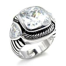 522 STERLING SILVER SIMULATED DIAMOND RING STAMPED BEZEL CUSHION CUT CHUNKY