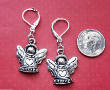 ANGEL With HEART Silver Plated LEVERBACK Drop Earrings OPT: Short, Long, Kidney