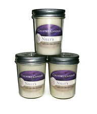 Vegan Candles -  3-8oz. Natural Soy Wax Jelly Jar Candles - Very Vanilla