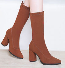 Girls Womens Suede Platform Slip On Heel Mid -Calf  Boots Shoes Buckle Pump