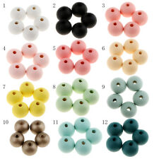 30pcs Small Round Wood Beads Spacer 14mm Spacer Balls with Hole DIY Findings