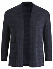 Chicwe Women's Jacquard Knit Plus Size Cardigan with Sweater Looking Navy 1X-4X