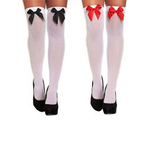 Ladies Over The Knee Hold Up Stockings Socks Thigh High With Bows Fancy Dress.