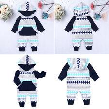 Infant Baby Girl Boy Winter Romper Jumpsuit Hooded Bodysuit Sweater Outfit Long