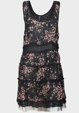 New Evie Chiffon Black Floral Rose Print Tiered Effect Dress Size 8 14 FREEPOST