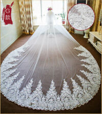 Luxury 1T 3M Cathedral Wedding Veil Lace Edge Bride Bridal Veils With Comb 288