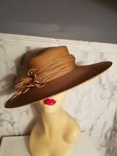 Vintage 1950's Rare Mlle Arlette NY wide brim weaved straw hat straw flower bow