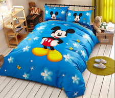 Blue Mickey Mouse Disney Cartoon Comforter Bedding Set Full King Queen Twin Size