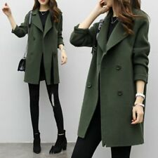 women Fashion double breasted long trench coat jacket wool overcoat Parka SM