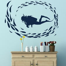 Scuba Diver Removable Vinyl Decal / Art Decor Wall Transfer /  Wall Decals RA10