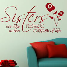 Sisters Quote Wall Stickers Girls Vinyl Decal Transfer Mural Graphic Stencil X92