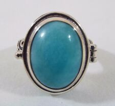 Himalayan Gems Sterling Silver Amazonite Oval Cabochon Secret Locket Ring