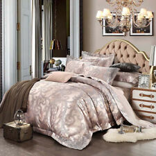 Luxury 4pc. 100% Cotton Lilac Embroidered Queen King Duvet Cover Bedding Set