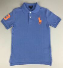 POLO RALPH LAUREN Boys Big Pony Cotton Mesh Polo Shirt Blue Size: 5, 7 & L 14-16