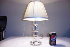 SOLID GLASS CRYSTAL TABLE LAMP WITH VINTAGE SATIN SHADE ..