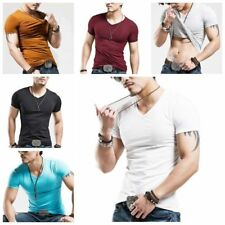 Mens Slim Casual Top T-Shirt Short Sleeve V-Neck Slim Fit Muscle Shirt Basic Tee
