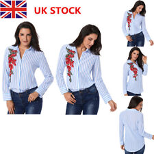 Women Embroidery Long Sleeve Lapel T-Shirt Ladies Casual Loose OL Office Blouse