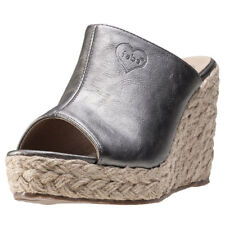 Fabulous Fabs Metallic Mule Womens Wedges Pewter New Shoes