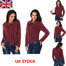 Women Long Sleeve Lace Up Tied Sweater Shirt Ladies Casual Loose OL Blouse Tops