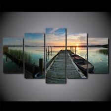 5 panel canvas art boat lake sunset print wall art print on canvas for living ro
