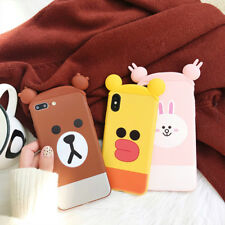 Korea Funny 3D toy Ear Cony Brown Bear soft case Cover for iPhone X 8 7 6S Plus