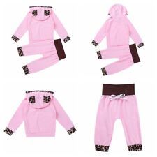 Infant Baby Kids Girls Leopard Print Long Sleeves Hooded Tops Pants Outfit Sets