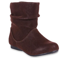 Girls Piper Brown Slouch Boots Mid Calf Microsuede Upper Side Zip Cushioned NEW