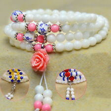 6mm Natural Colorful Tridacna Round Beads Stone Stretch Womens Mens Bracelet New