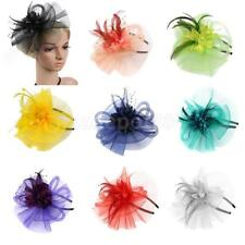 Elegant Lady Women Fascinator Headband Veil Feather Hat Headwear Cocktail Party