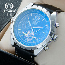 GUCAMEL Luxury Mens Watch Blue Glass Mechanical Tourbillon Steel Leather Watches