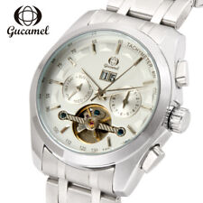 GUCAMEL Luxury Brand Date Automatic Mechanical Mens Tourbillon Steel Wrist Watch