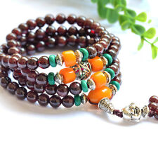 Natural Red Garnet Round Beads Stone Unisex Stretch Bracelet 5 to 6mm for Gift