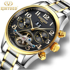 KINYUED Luxury Mens Automatic Mechanical Tourbillon Steel Band Date Wrist Watch