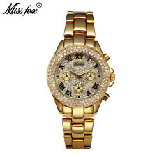 Missfox Fashion Womens Diamond Rhinestone Stainless Steel Quartz Wrist Watches