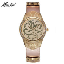 Miss Fox Luxury Brand Women Quartz Rhinestone Diamond Gold Dress Flower Watches
