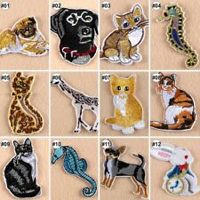 Embroidered Iron On Patches Animals Transfer Fabric Bag Clothes Applique Trim-B