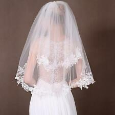 2T Elbow Wedding Veils Lace Appliques Edge Bridal Veil With Comb Accessories