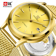 Fashion Luxury Gold Women Mens Automatic Mechanical Date Thin Steel Band Watches